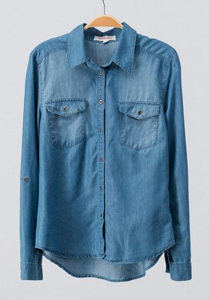 DENIM BUTTON DOWN TOP - Georgie St. Boutique