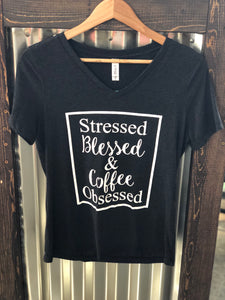 STRESSED, BLESSED & COFFEE OBSSESSED TEE - Georgie St. Boutique