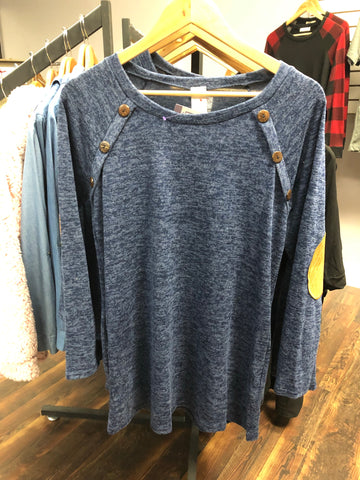 NAVY BUTTON & PATCHES SWEATER - Georgie St. Boutique