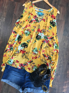 MUSTARD FLORAL TUNIC TANK - Georgie St. Boutique