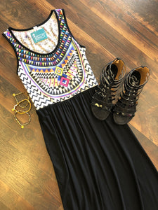 MULTI-COLOR BLACK MAXI - Georgie St. Boutique
