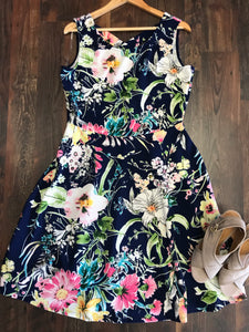 NAVY FLORAL A-LINE DRESS - Georgie St. Boutique