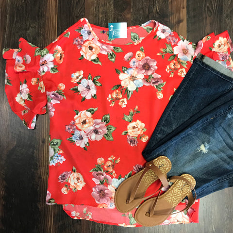 RED FLORAL RUFFLE SLEEVE TOP - Georgie St. Boutique