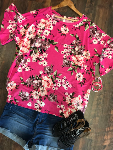 RASPBERRY FLORAL RUFFLE SLEEVE TOP - Georgie St. Boutique