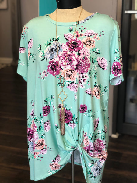 MINT FLORAL KNOTTED TOP - Georgie St. Boutique