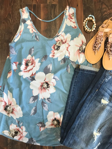 BABY BLUE FLORAL TANK - Georgie St. Boutique