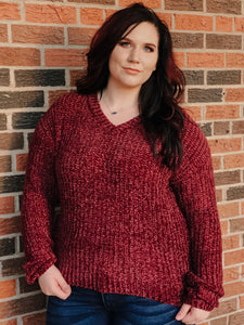 BURGUNDY KNIT SWEATER | CURVY - Georgie St. Boutique