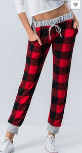 RED BUFFALO PLAID PANTS - Georgie St. Boutique