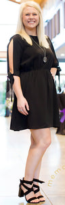 OPEN SLEEVE BLACK DRESS - Georgie St. Boutique