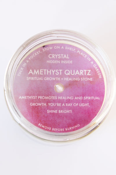 Amethyst Crystal Candle Spiritual Growth + Healing
