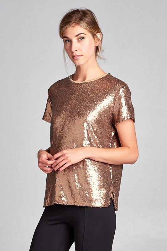womens gold sequin holiday shirt