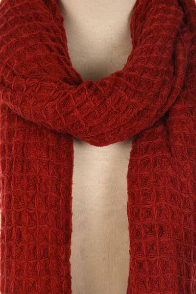 womens burgundy woven scarf accessory