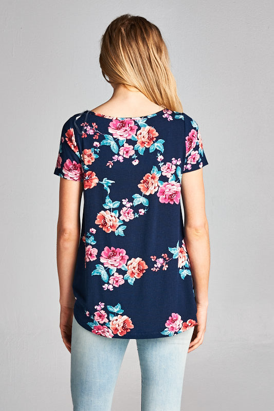 womens navy floral twisted knot shirt, Bella Rose Boutique