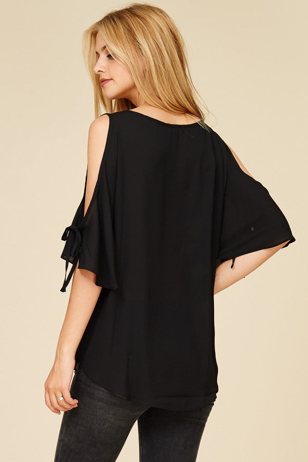 womens open shoulder black top