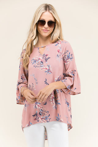 womens floral rose bell sleeve top