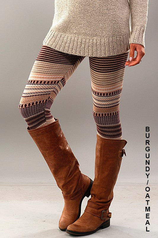 womens burgundy beige leggings