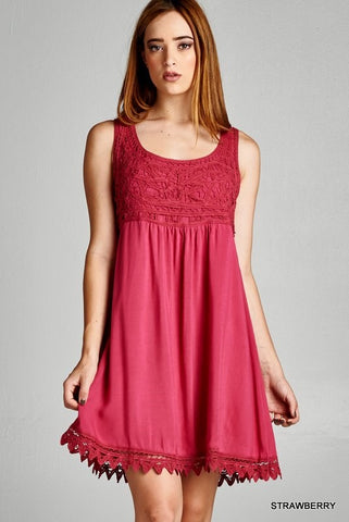 womens short strawberry red dress