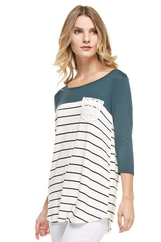 womens hunter green striped shirt