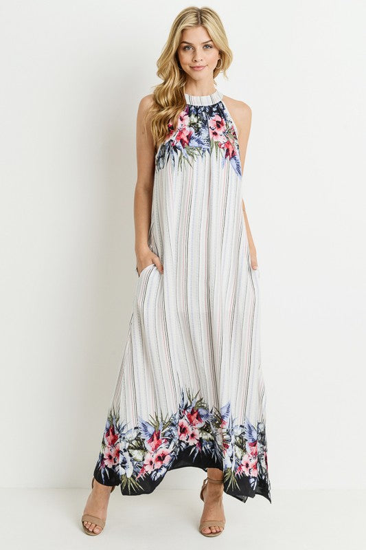 womens white sleeveless maxi dress vacation boutique