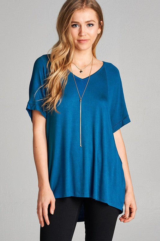 womens teal hi low hemline shirt