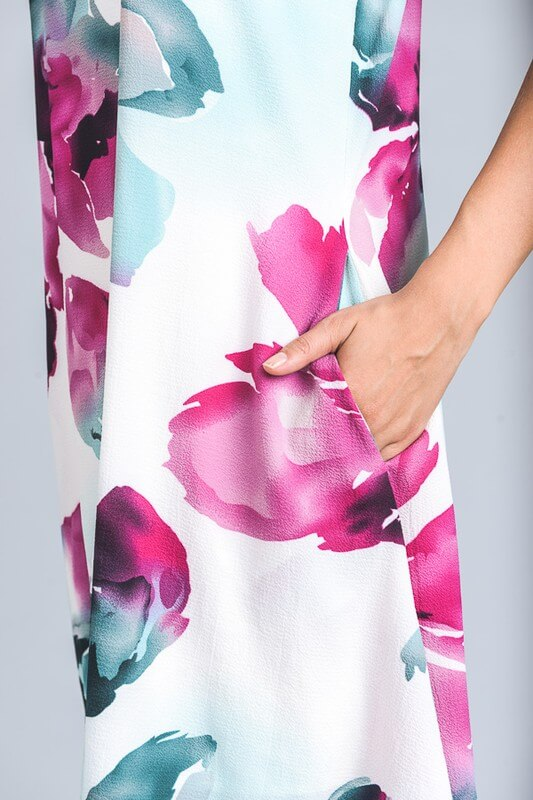 womens white floral sleeveless dress, bella rose boutique