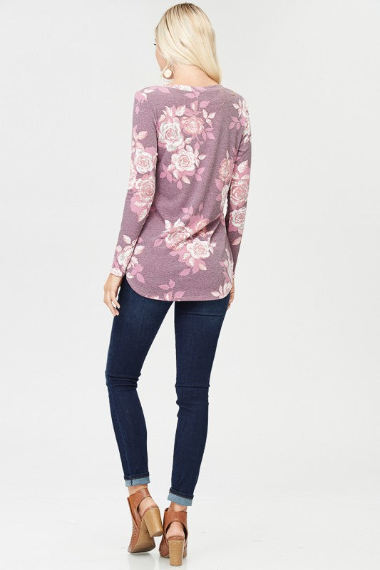 womens lavender floral long sleeve shirt