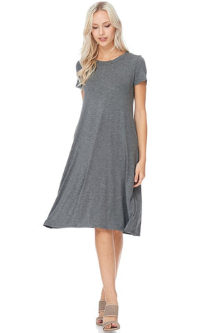 womens charcoal gray midi dress