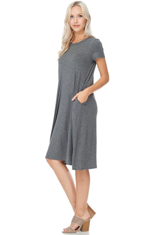 womens charcoal gray midi dress boutique clothing
