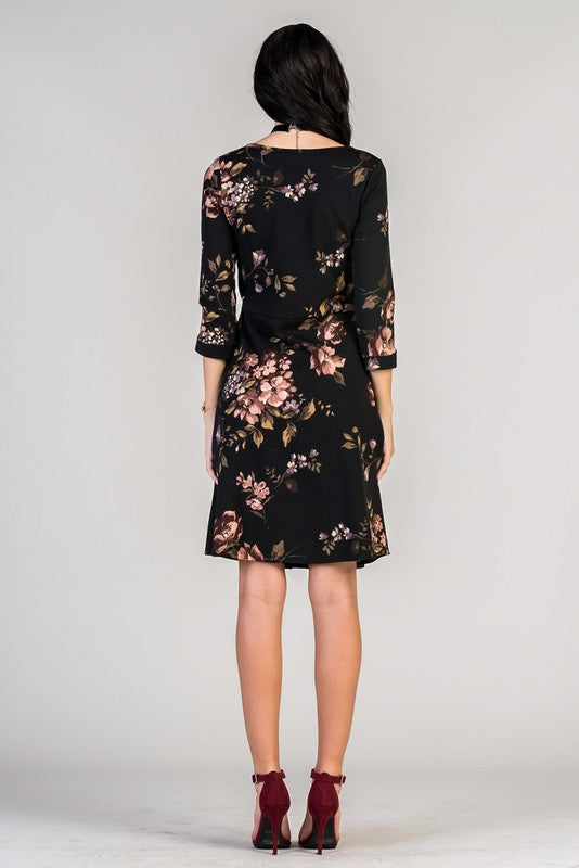 womens black floral dress