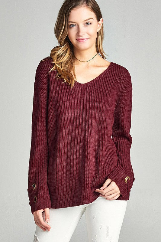 womens burgundy sweater