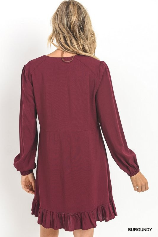 womens burgundy long sleeve dress