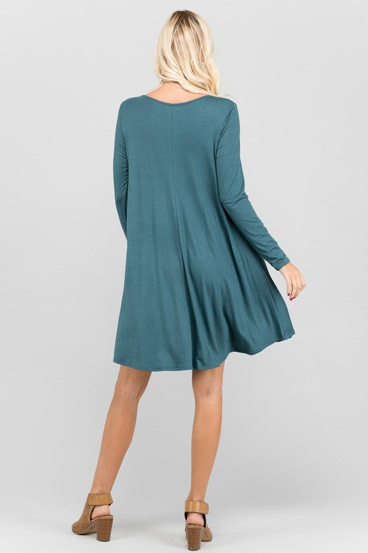 womens teal long sleeve dress