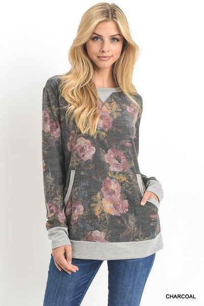 womens charcoal floral shirt