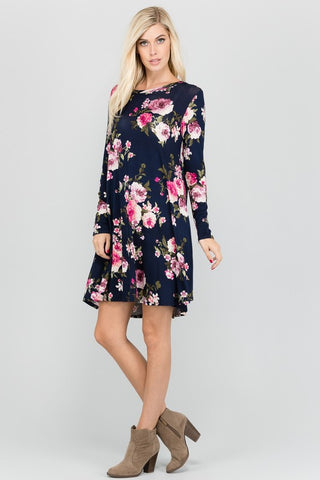 womens floral navy dress