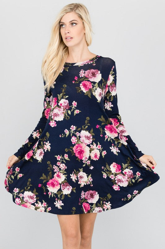 womens floral navy long sleeve dress boutique clothing