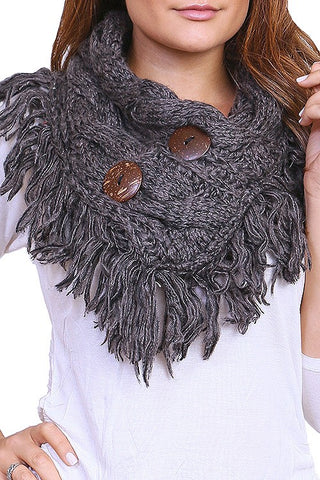 womens charcoal button scarf