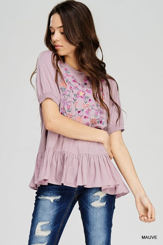 womens mauve embroidered short sleeve shirt, Bella Rose Boutique