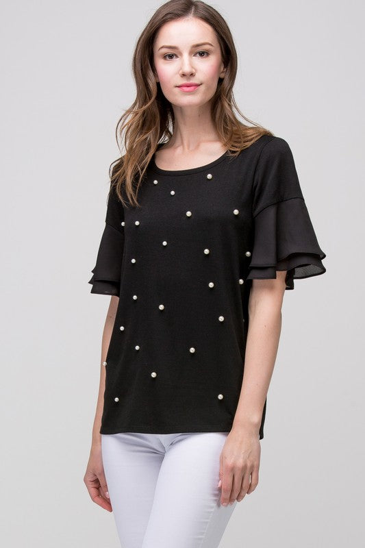 womens black pearl short sleeve shirt clothing