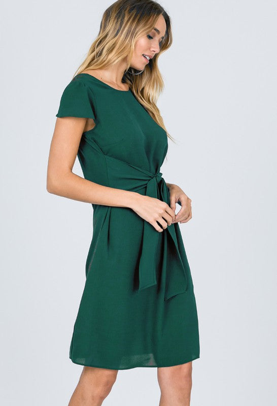 womens green tie front dress boutique clothing