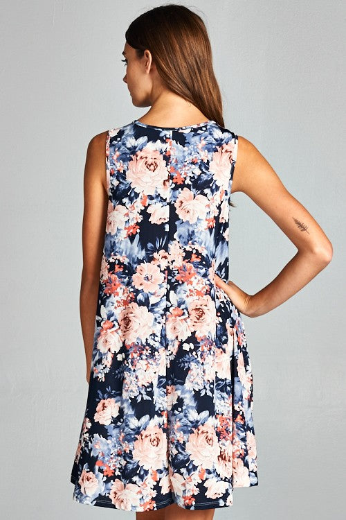 navy floral sleeveless dress womens boutique