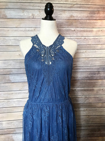 womens beaded lace blue dress
