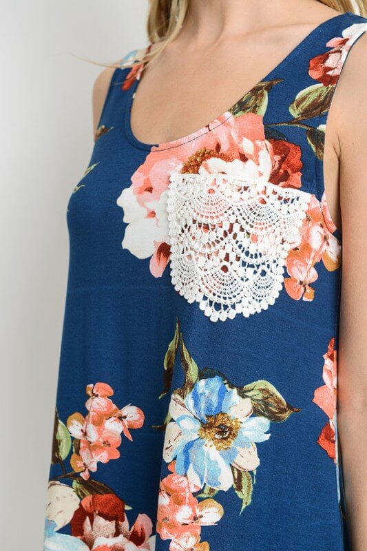 womens blue floral tank top boutique clothing