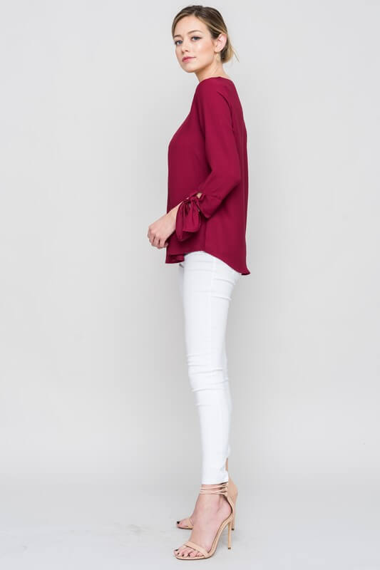 womens burgundy tie sleeve shirt