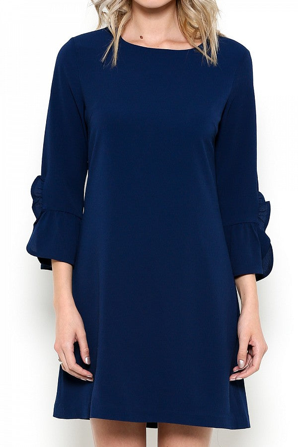 womens navy bell sleeve dress boutique clothing