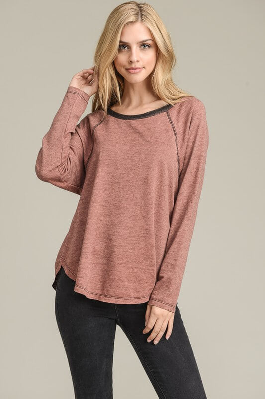 womens brick long sleeve sweater online boutique