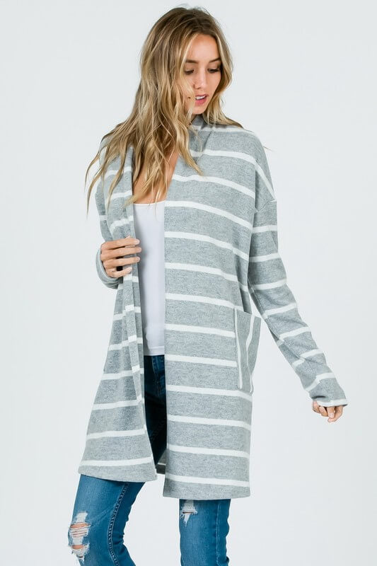 womens gray and white striped cardigan online boutique