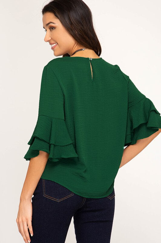 womens green top boutique clothing
