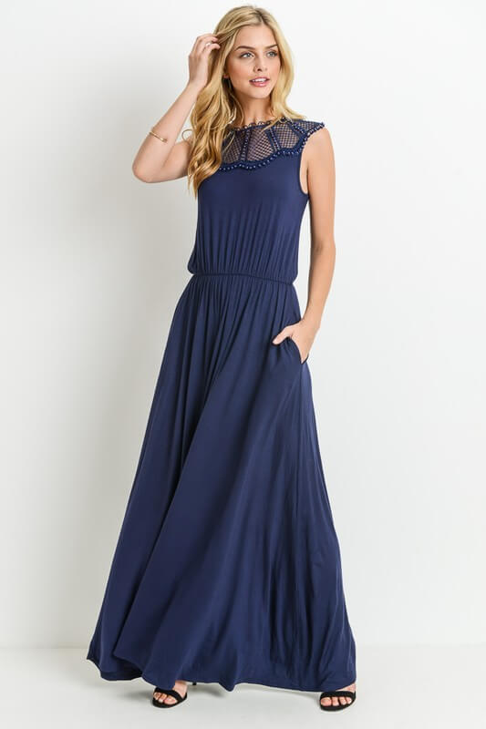 navy sleeveless maxi dress boutique