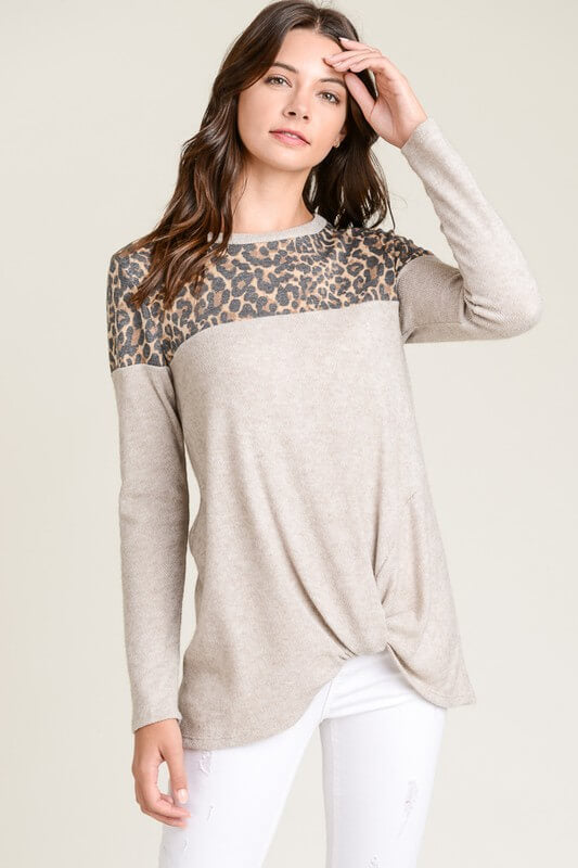 womens clothing boutique oatmeal leopard long sleeve shirt