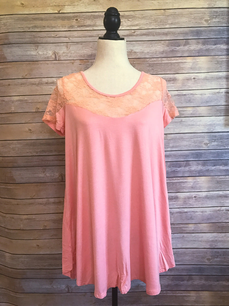 womens peach lace shirt